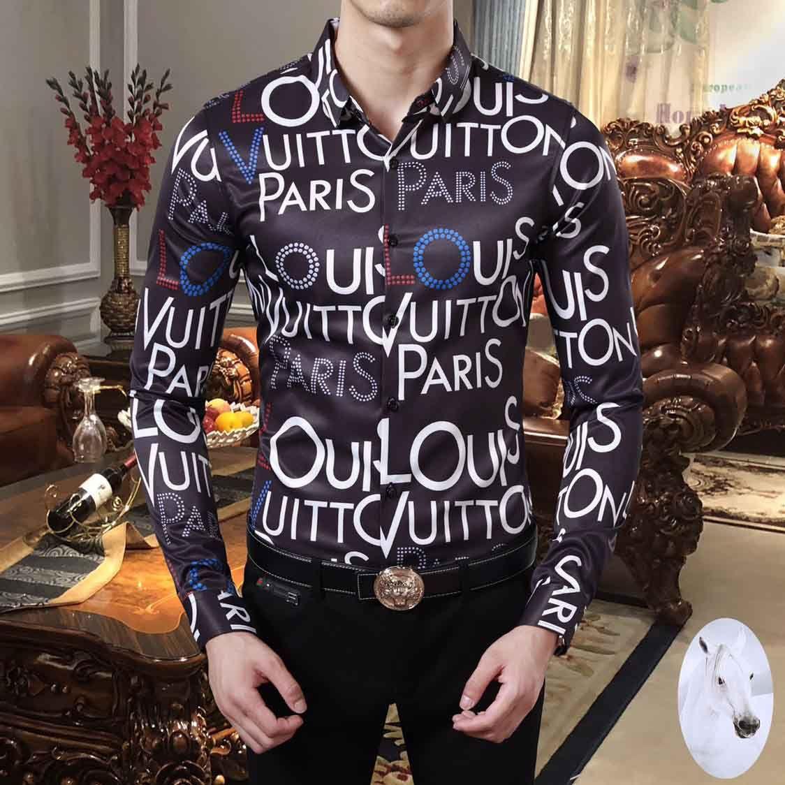 Brand New Harajuku Mens Dress Shirts Fashion Designer Casual Shirt Men Medusa Shirts Lettre Imprimer Slim Fit Chemises hommes