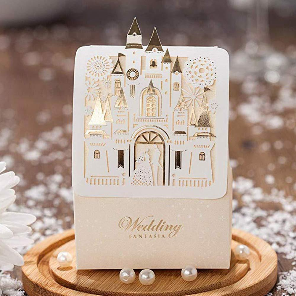 50pcs Golden Church Laser Cut Wedding Boxes Candy Box Romantic Castle Design Wedding Favors Gifts Candy Packaging Box Party Decorations