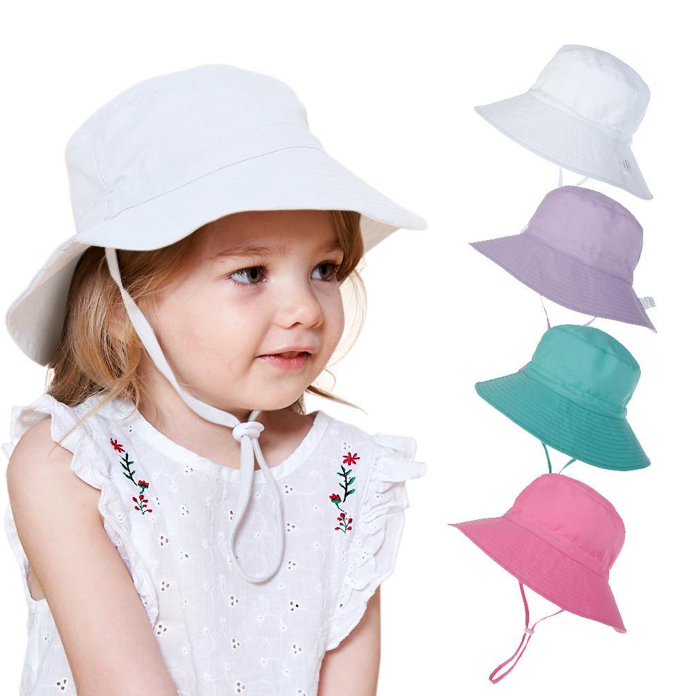 Ins bebé niños del sombrero de Sun Flower Casco Impreso Beach Sunhats manera de los niños del salacot ajustable precioso Niño Niña Cubo sombrero de ala ancha