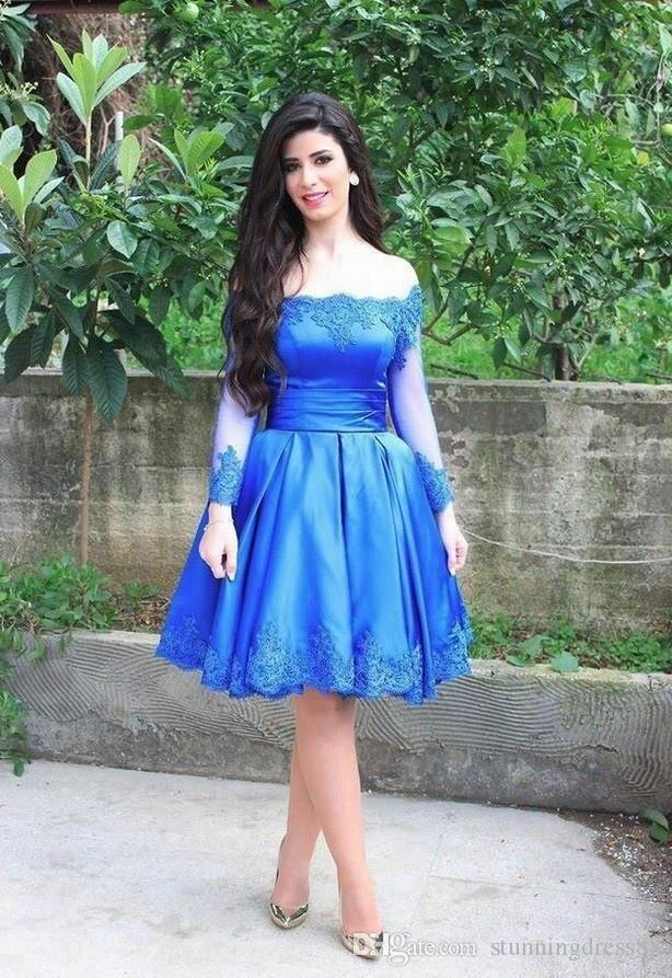2020 Royal Blue Short Graduation Prom dresses Off the shoulder with long Sleeves Lace Applique Hollow Back Homecoming Party Dress Cheap