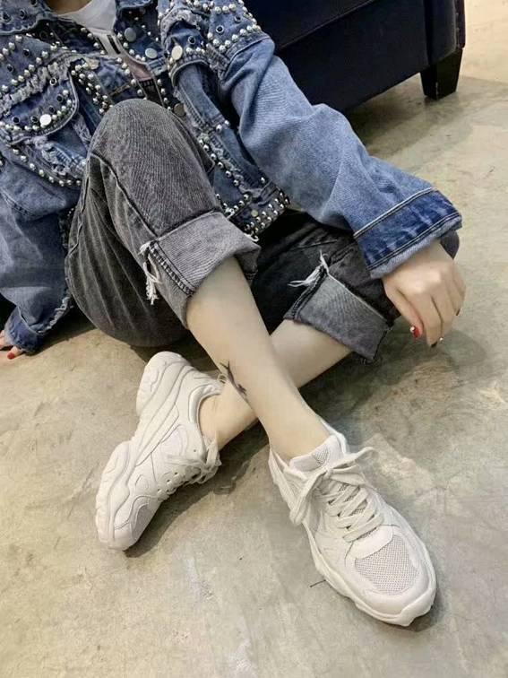 Melhores venda cadeia de luxo pai reação sapatos casuais malha andando de designer de moda lenta caminhada sapatos femininos 35-39