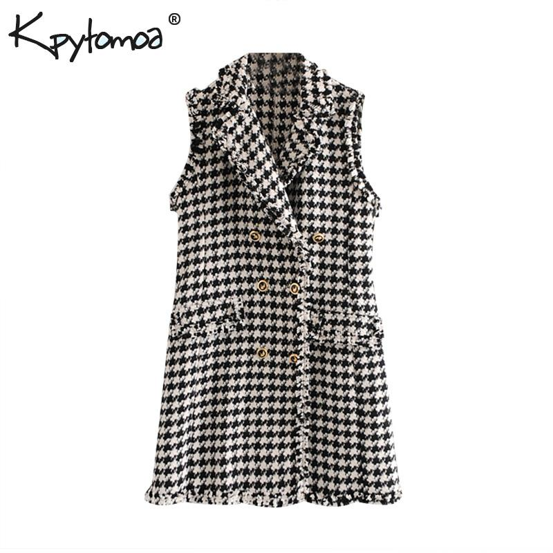 Vintage Double Breasted Frayed Tweed Mini Dress Women 2019 Fashion Lapel Collar Sleeveless Plaid Dresses Casual Vestidos Mujer