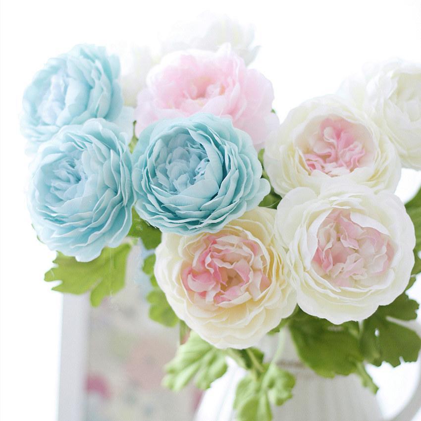10Branch 9cm Künstliche Pfingstrose Blumen-Weihnachtsfest, Geburtstag, Hochzeit Hauptdekoration Gefälschte Blumen DIY Braut Girlande Kranz