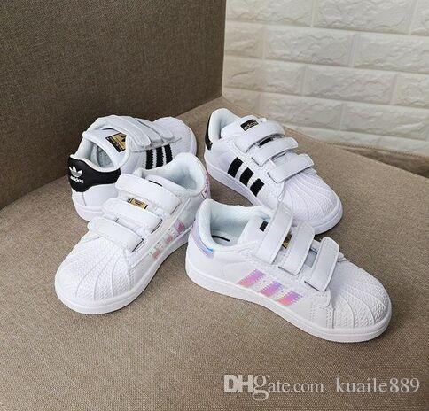 Yeni Marka Kabuk Kafa erkek kız Sneakers Süperstar çocuk Çocuk Ayakkabı yeni stan ayakkabı moda smith sneakers deri spor koşu ayakkabı