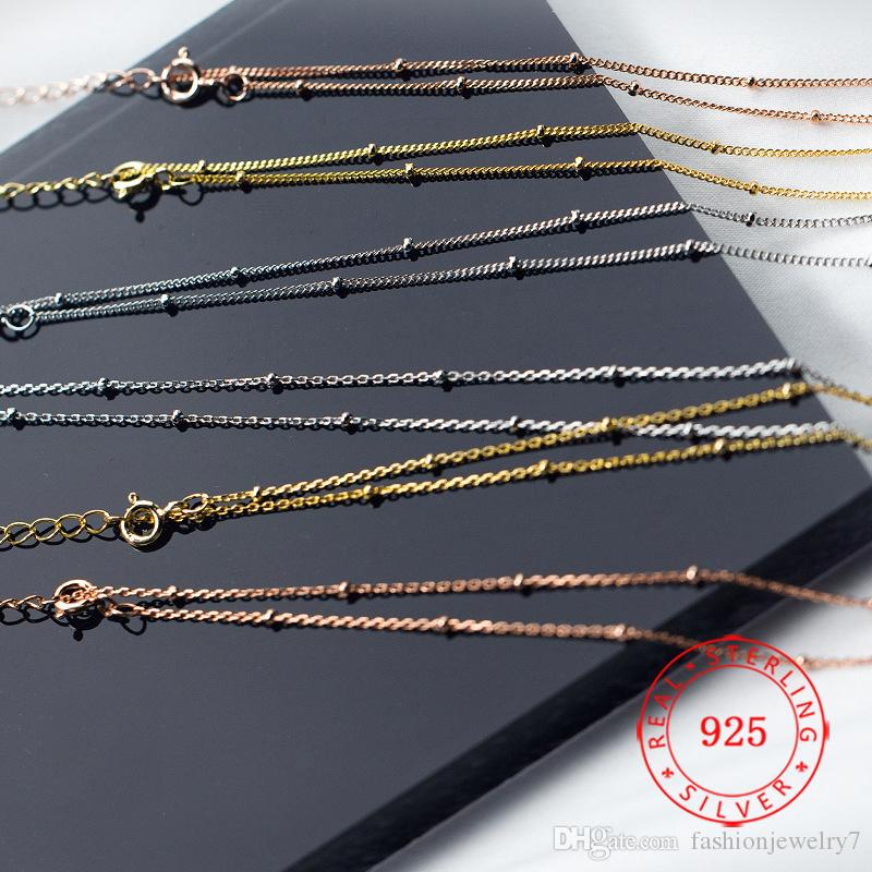 Fashion Jewelry China Factory Price Solid 925 sterling silver rose gold short twist chain chokers necklace small beads necklaces wholesale