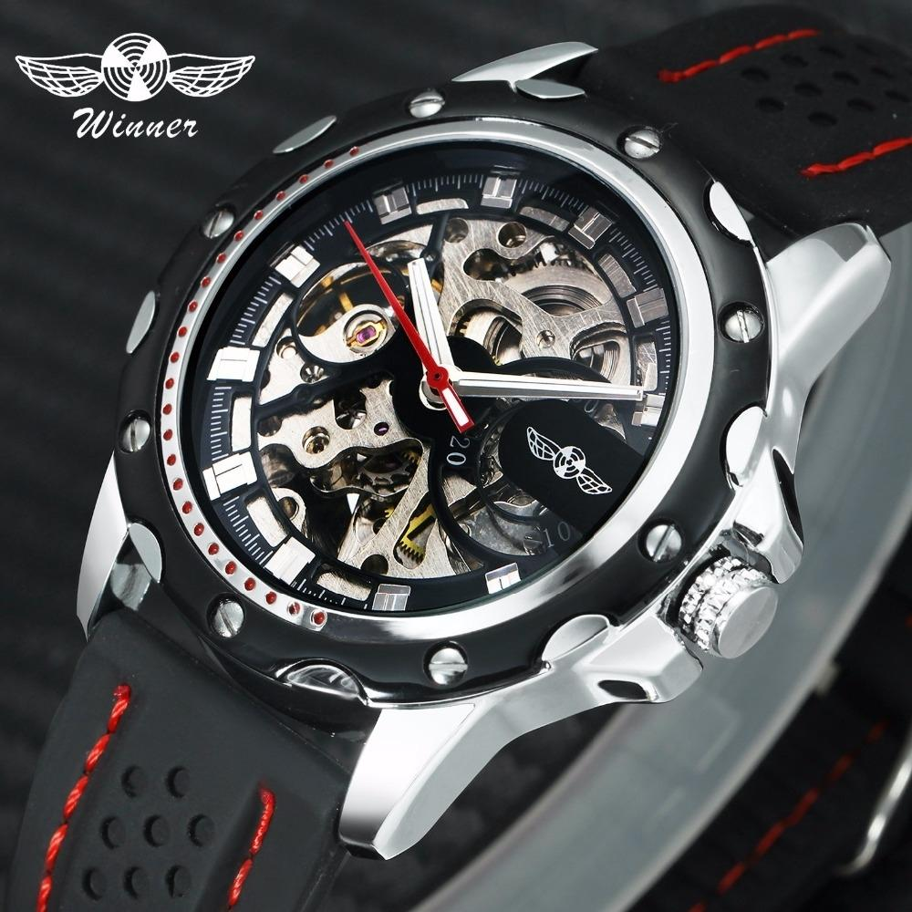WINNER Official 2019 New Fashion Men Automatic Mechanical Watches Luxury Brand Skeleton Luminous Hands Rubber Strap Sport Clock CJ191213