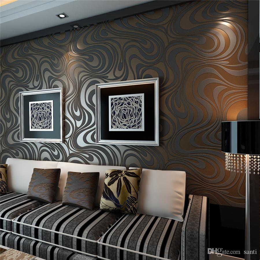 뜨거운 3D 벽화 벽 롤 현대 스테레오 종이 벽지 롤 Papel de parede splinkle 골드 벽화 damask 부직포 벽 종이