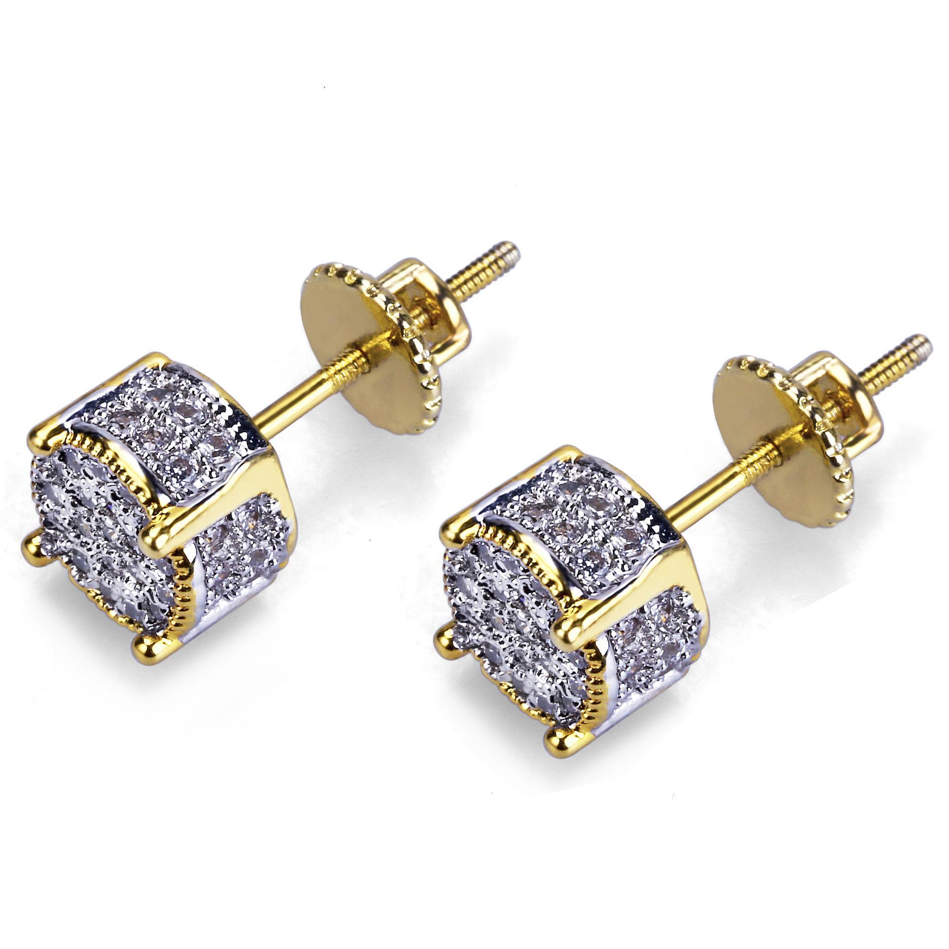 Хип-хоп Рок Jewelry серьги цвета золота Iced Out Micro Pave CZ камень Lab серьги с винтовым Назад Gor Мужчины Женщины