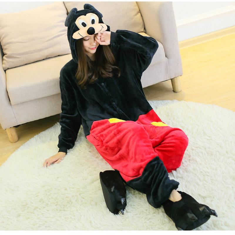 Mouse Flannel Cartoon Siamese Pajamas Autumn and winter men and women couple animal home service costume onesie