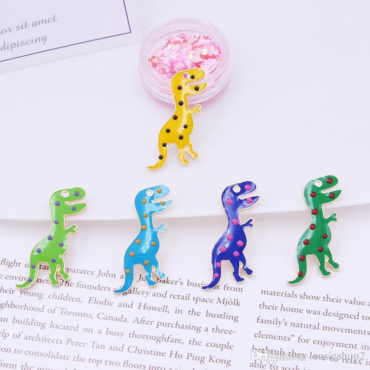 100 шт./лот сплава мультфильм Mou весело эмаль динозавр подвески подвески ювелирные изделия аксессуары анимация игрушка висит