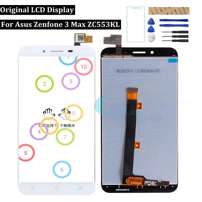 """Original para asus zenfone 3 max zc553kl display lcd tela sensível ao toque de 5.5 """"digitador assembléia substituição reparação de peças de reposição ferramentas"""