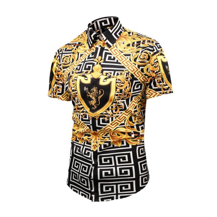 2020 осень зима короткий рукав рубашки мужчин вскользь напечатаны рубашки платья Цвет печати Slim Fit медузы шелковые рубашки M-2XL