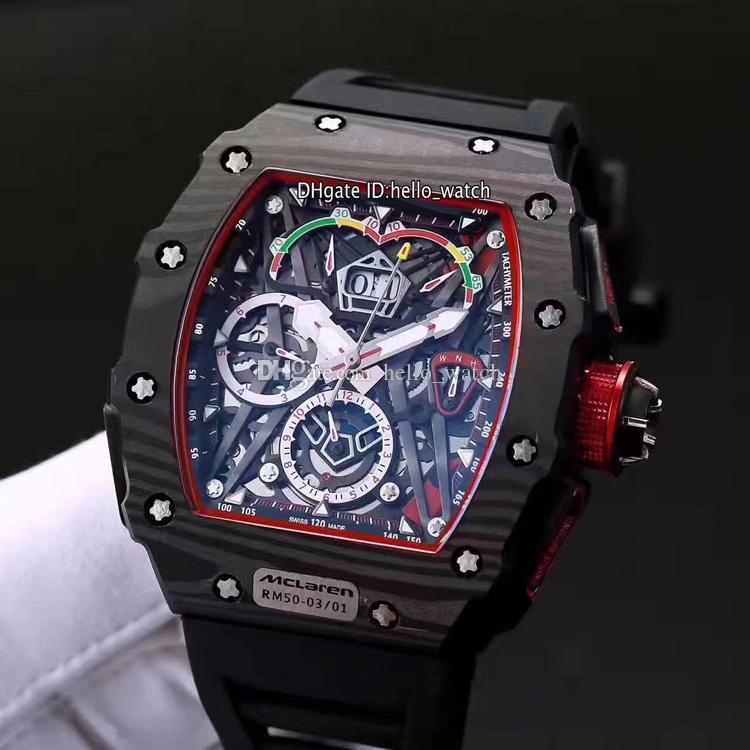 Beat Edition Büyük Tarih RM50-03 / 01 McLaren F1 İskelet Arama Miyota Otomatik RM50-03 Erkek İzle Siyah Karbon Fiber Kılıf Siyah Kauçuk Saatler.
