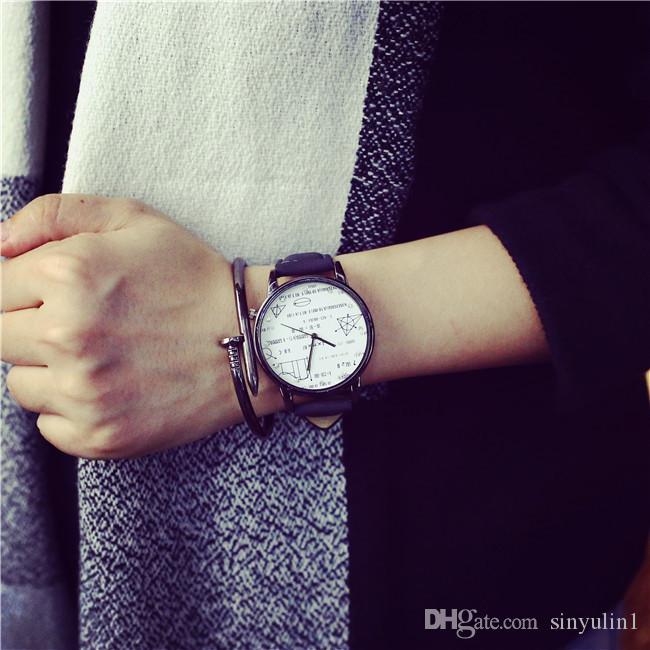 Couple De Luxe En Cuir Montre mathématiques Designer Hommes De Femmes Dames PU Montres En Cuir Analogique Quartz Horloge Cadeau Minimalisme Cadeau Montres