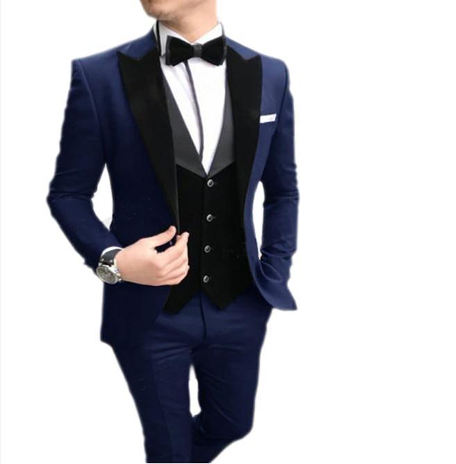 sağdıç Smokin yelek düğün elbisesi için 2020 Erkekler takım elbise Casual Slim Fit Notch Yaka 3 adet (Blazer + yelek + Pantolon)