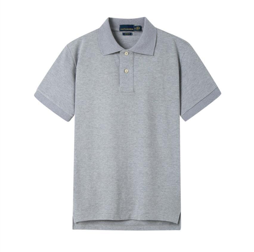 2020 Nouveau PP8836 été Hommes haute qualité coton à manches courtes Chemises Business Casual solides été Maillots Sport Golf Tennis Chemise noire