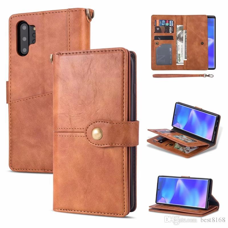 Multifonction Étui portefeuille en cuir pour Samsung Note 10 Pro A750 A7 2018 Huawei P30 Lite Flip Cover Frame Photo Card Slot Cash Pocket Purses
