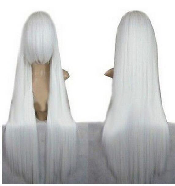 무료 배송 + ++ 패션 New Inuyasha Ne w Long White 스트레이트 코스프레 가발