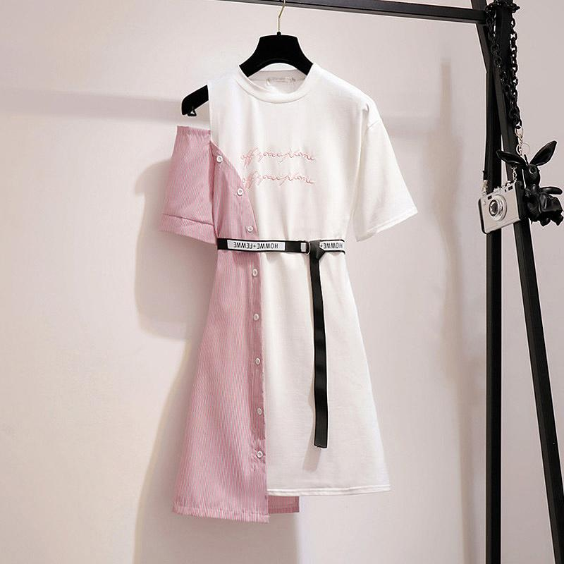2019 Summer Patchwork T Shirt Dress Women Korean Ulzzang Off Shoulder Dress Sashes Streetwear Plus Size Fake Two Piece Dress Y19073101