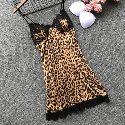 QWEEK Leopard пижамы для кружева сексуальное женское белье мода шелковые пижамы наборы женщин 2019 лето пижама Mujer пижама с грудью Pad Y200425