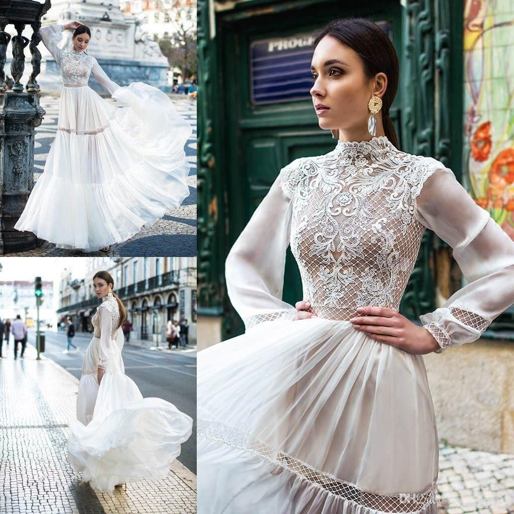 2020 Lace High Collar Newest A Line Wedding Dresses Long Sleeves Chiffon Bridal Wedding Gowns Cheap Boho Dress for Bride