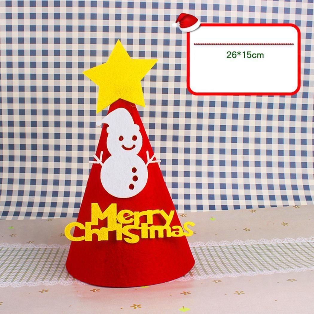 Children Cute Cartoon Christmas Hat DIY Hat For Glasses, Snowman, Tree Christmas Party Print