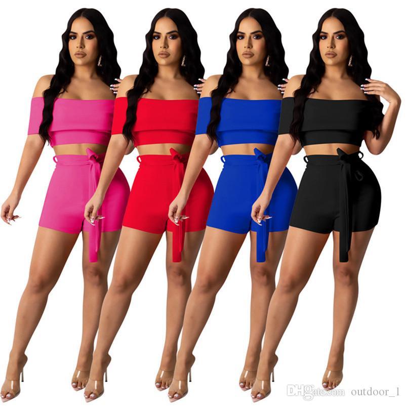 Kadınlar yaz 2 adet yeni stil seksi göğüs sarma şort omuz baskı gece kulübü giyim spor kazak 2604 kapriler kapalı bandaj set