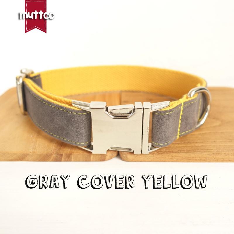 MUTTCO vendita al dettaglio collare di cane di auto-progettazione GRIGIO coperchio giallo a mano poli raso e nylon grigio e colletto giallo UDC026 guinzaglio