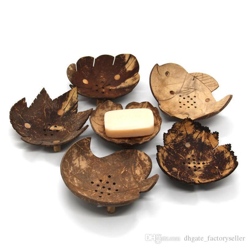 الإبداعية أطباق الصابون من تايلاند الرجعية خشبية الحمام صابون جوز الهند شكل أطباق الصابون حامل اكسسوارات المنزل الشحن dhl LX6571