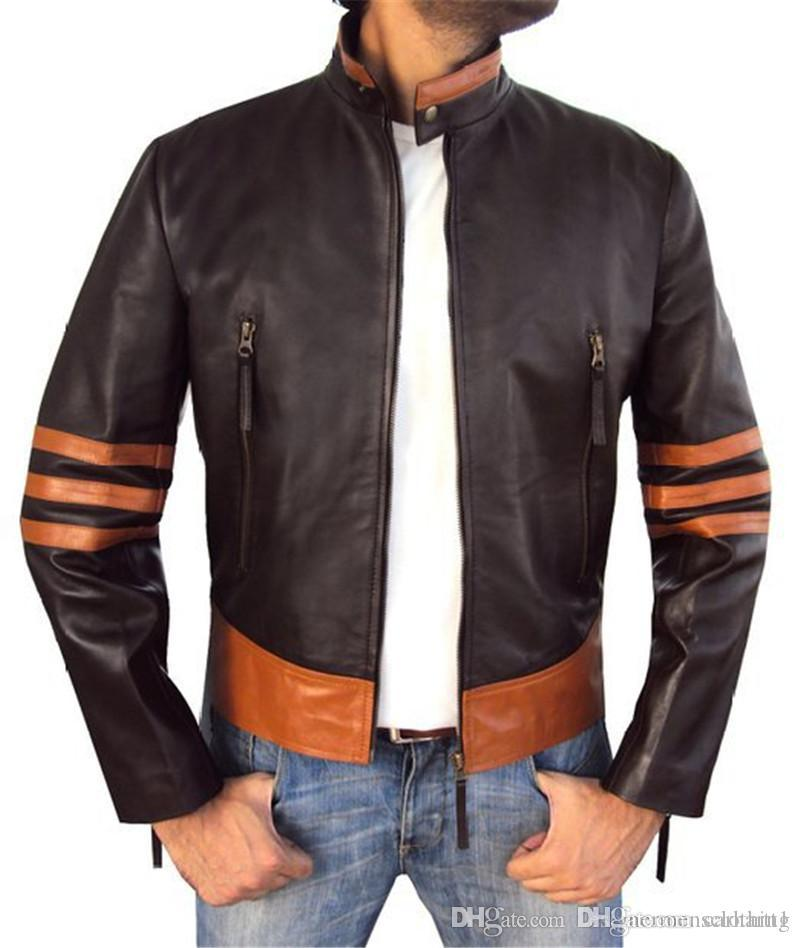 Tasarımcı Erkek Deri Ceket Standı Yaka Uzun Kollu Erkek Motosiklet Ceket Casual Patchwork Renk Erkek Palto