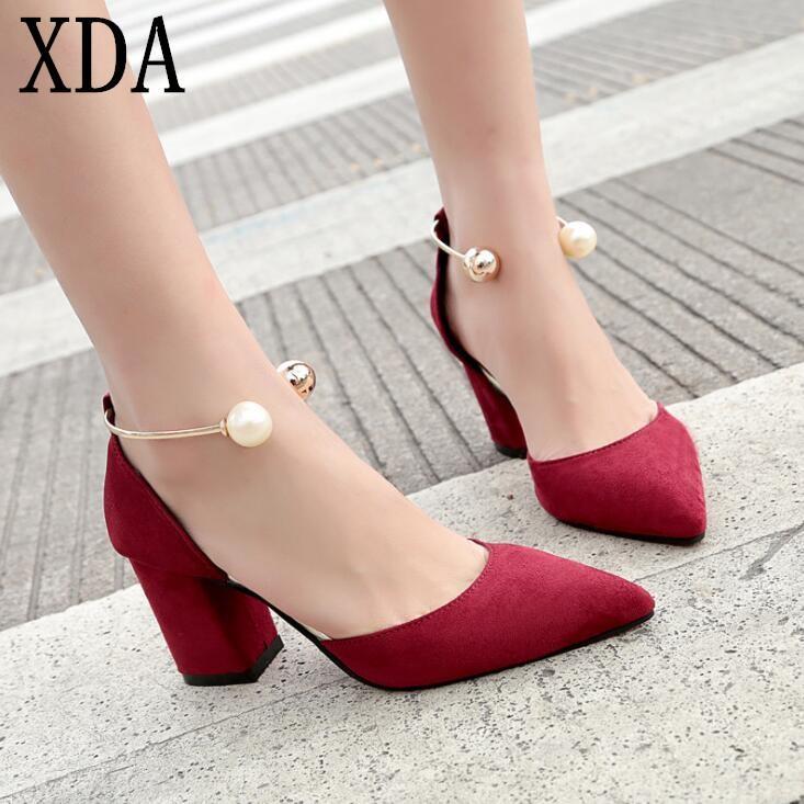 XDA 2018 الصيف النساء أحذية عالية الكعب المصارع واحد أحذية اللؤلؤ أحذية النساء أشار تو مثير النساء منتصف كعب W423