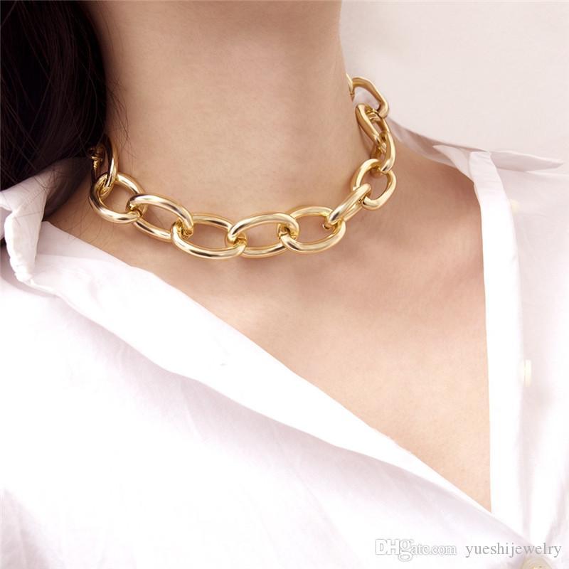 USENSET Personalidade exagerada cubano cadeia colar grande corrente de ligação clássico coringa moda gargantilha charme das mulheres jóias S03