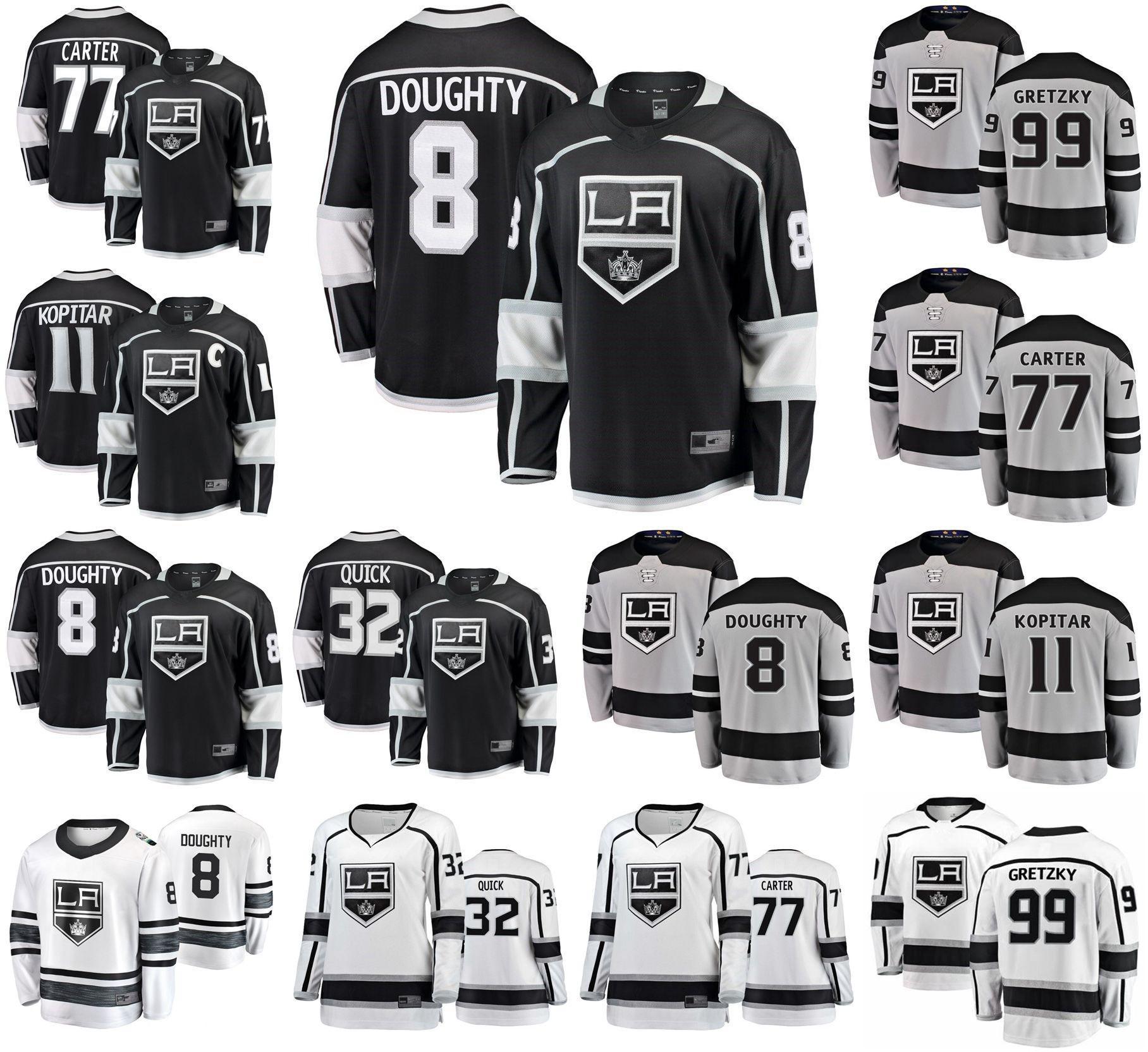 Los Angeles Kings Jerseys 11 Anze Kopitar Jersey 32 Jonathan Quick 77 Jeff Carter 8 Drew Doughty 99 Wayne Gretzky Hockey Jerseys genähtes