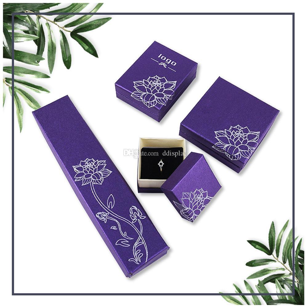 [DDisplay] Lotus Purple Minuscule Boîte à bijoux Glamour Bague Boîtes Wayfair Boucle D'oreille Petits Bijoux Affichage Collier Personnalisé Collier Paquet Boîte pour Fille