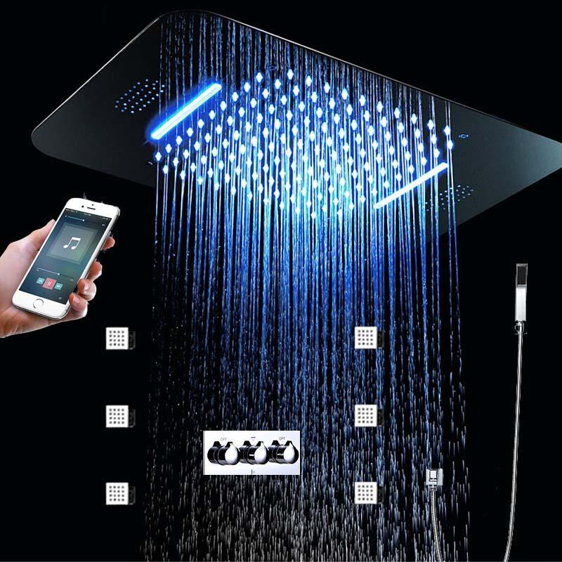 4 funciones de lujo LED grifos de ducha Set Music Shower Válvula mezcladora caliente y fría Top Rainfall Waterfall Body Jets 2 pulgadas