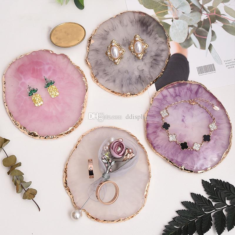 [DDisplay]Resin Marble Pattern Pendant Jewelry Display Tray Personalized Bracelet Display Holder Exquisite Earrings Display Stand