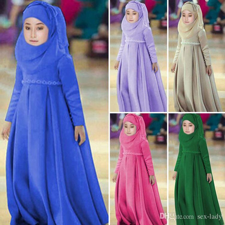 Children's Fashion Muslim Dress scafe clip 3pcs Girls Children Abaya Dubai Arabic Hijab Dress Kaftan Bangladesh 1-6Y