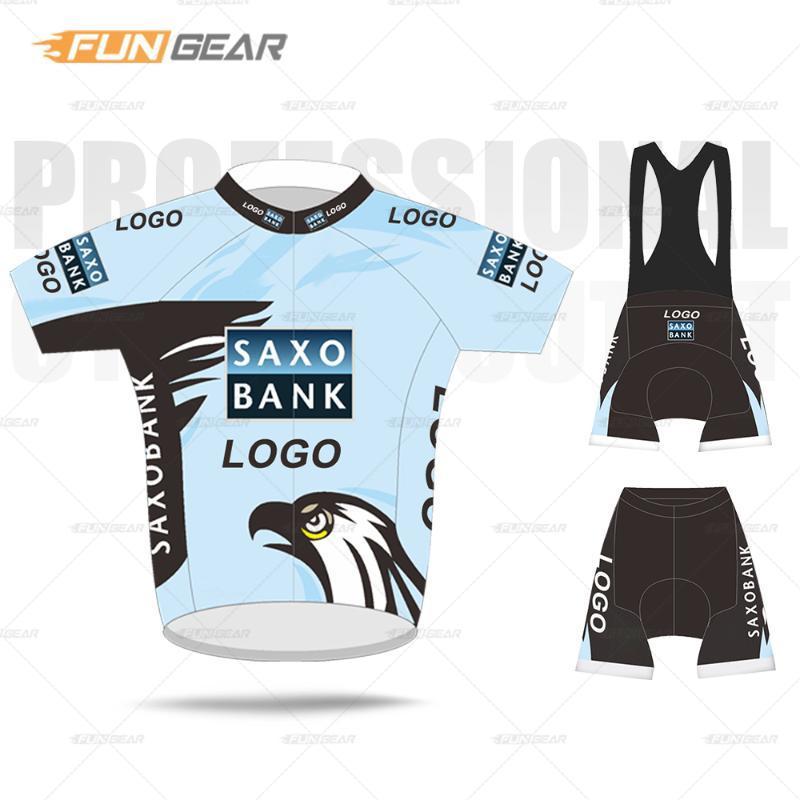 Profesyonel Ekibi Bisiklet Giyim Man Kısa Kollu Jersey Seti SAXO BANK 2020 Özel Yol Bisikleti Giyim Yaz MTB Triatlon Skinsuit