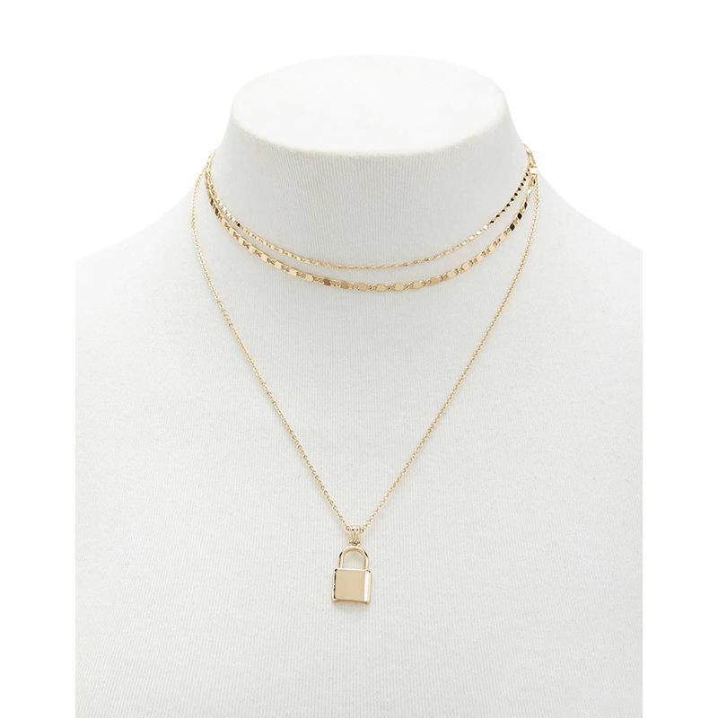 Verrouillez Pendentif Y Collier mignon et simple sautoirs Multilayer chaîne bijoux de mode femmes filles cadeau pour elle