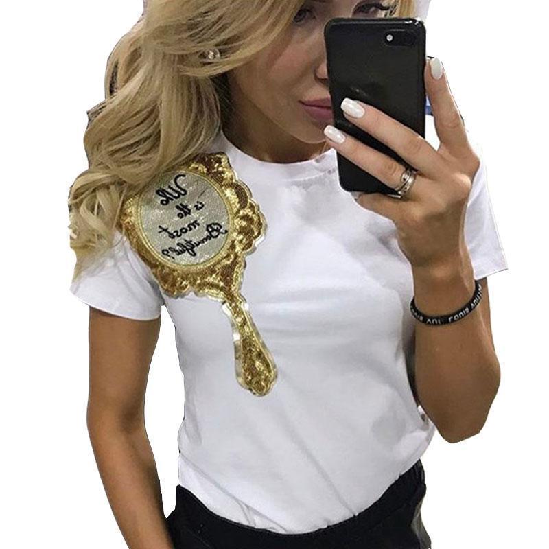 Оптовая пришивания Зеркало Печатные футболки для женщин летом с коротким рукавом Футболки Harajuku Женский Футболки Свободный Топы Тис Streetwear