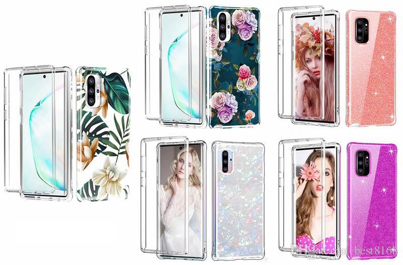 Defender híbrido híbrido pc + soft tpu caso para iphone 11 pro max xr xs x 10 8 7 6 samsung nota 10 flor glitter shell 2 em 1 360 cobertura de corpo inteiro
