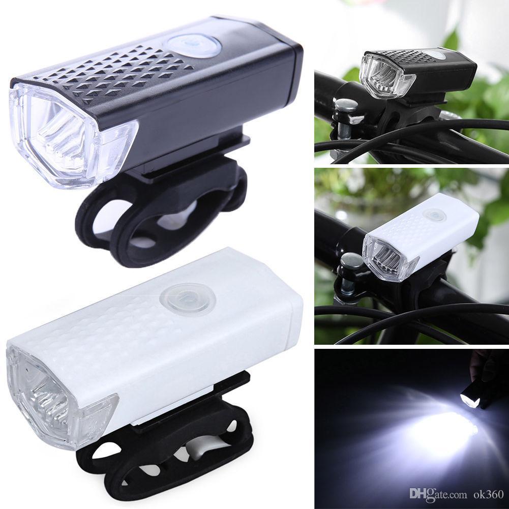 Luz de bicicleta USB Recarregável 300 Lumen 3 Modo de Luz Da Frente Da Bicicleta lâmpada À Prova D 'Água 6000 K Bicicleta Farol Ciclismo LED Lanterna