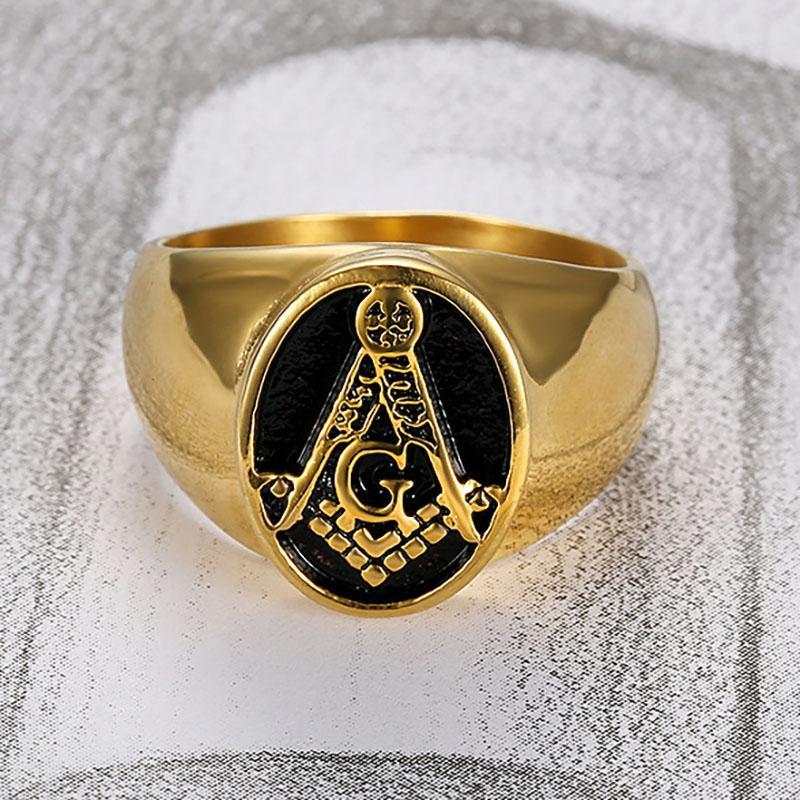 Klasik Altın Renk Paslanmaz Çelik Masonik Yüzük Erkekler için Mason Sembol AG Tapınakçı Masonluk erkek Yüzük Takı Toptan