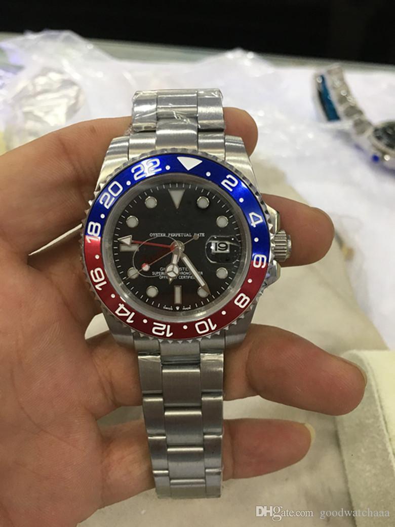 رأس الرجل ووتش التلقائية الميكانيكية الساعات GMT الفولاذ المقاوم للصدأ أزرق أحمر السيراميك 40MM الياقوت زجاج ساعات رجالية ساعات المعصم مع صندوق