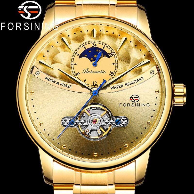 FORSINING Otomatik Mekanik Erkekler saatler Spor Erkek Saat Üst Altın Çelik Adam İzle 8179