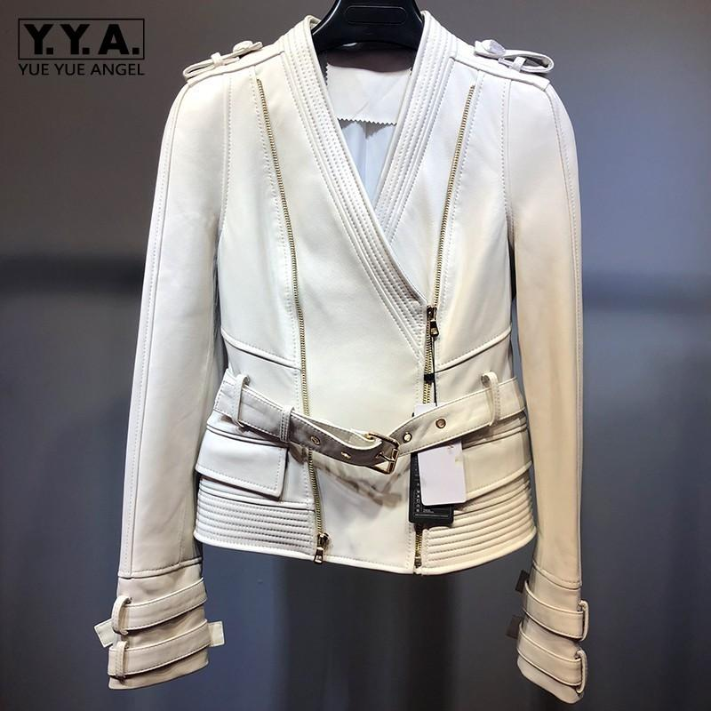 Moto Biker V-Neck Genuine Leather Sashes Women Jackets Slim Fit Zipper  Sheepskin Streetwear Plus Size Fashion  Short Coats