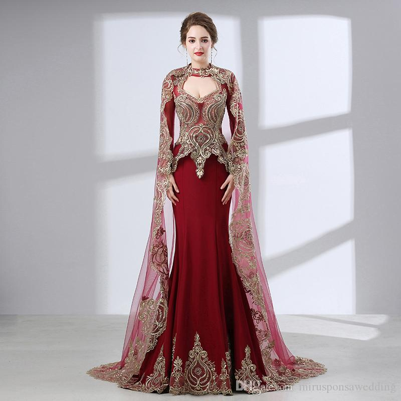 Elegant High Neck Long Sleeve Burgundy Evening Dress with Cape Lace Appliques Unique Prom Dress Sheer Back Party Dresses for Women