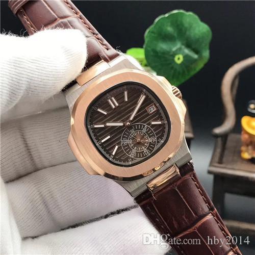 15 색 탑 남성 시계 자동식 기계식 고급 스테인레스 스틸 5980 로즈 골드 케이스 가죽 스트랩 남성 브랜드 스포츠 시계 스위스 제