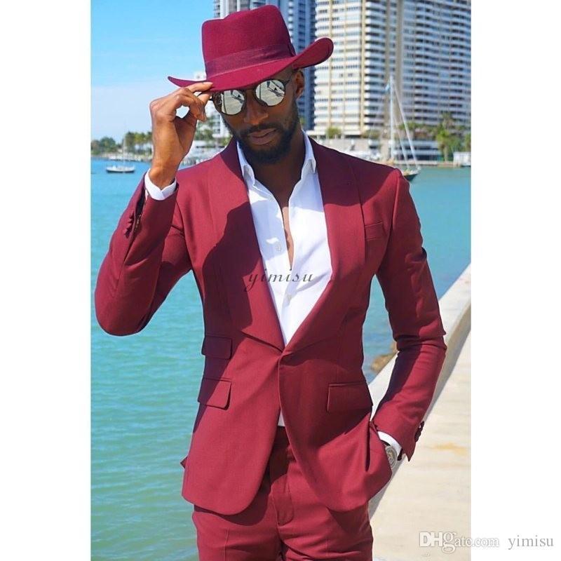 Koyu Kırmızı 2. Parçalar Erkek Suits Şal Yaka Bir Düğme Balo Suis Slim Fit Blazer Ceket Erkekler Düğün Suit Kostüm Mariage Coat + Pant