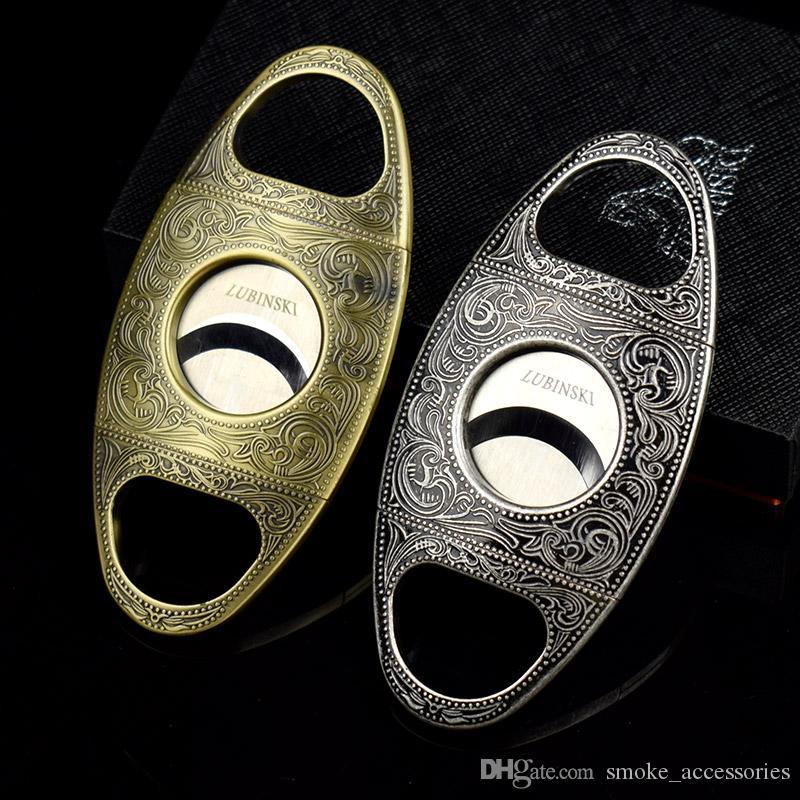 Klasyczny Silvergolden Color Podwójny Palec Rodzaj Stretch Metallic Cigar Nóż Dobra Jakość Ze Stali Nierdzewnej Cutter Cargi Narzędzie